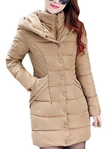 60e104a41c1 Lutratocro Women s Down Jacket Outwear Hooded Quilted Winter Warm Parka Coat  Khaki XS Best Winter Coats USA