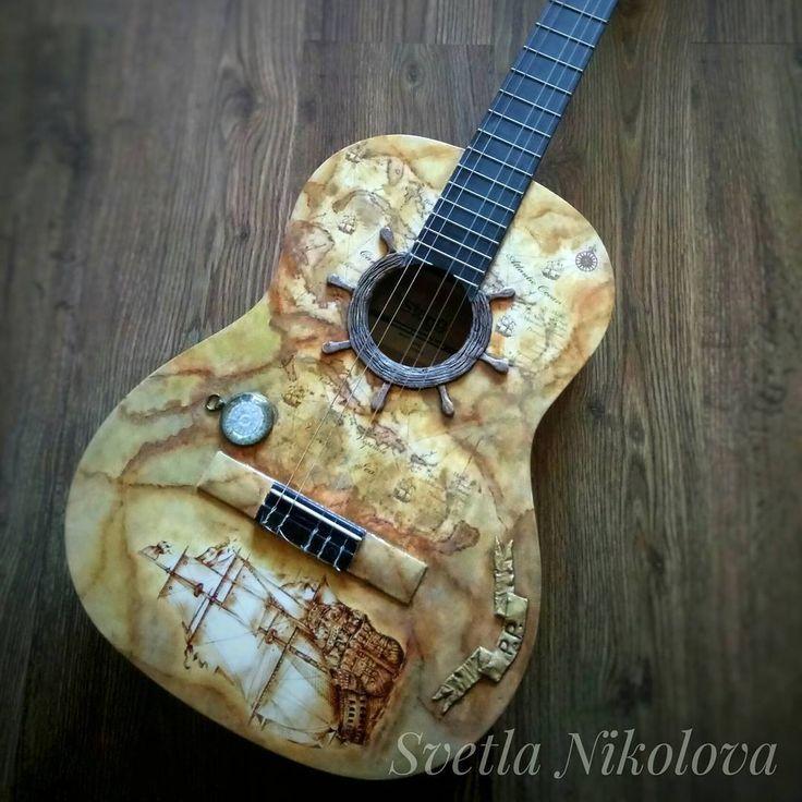 "58 Likes, 5 Comments - Svetla Nikolova (@svetla.nikolova.handmade) on Instagram: ""Classical  guitar -decoupage and decoration. #handmade #handmadedecor #decor #decoration #decoupage…"""