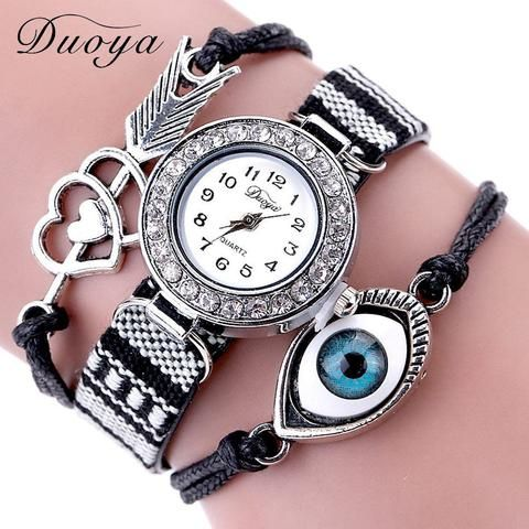 [EBay] Duoya Watch Women Luxury Love Heart Arrow Eye Vintage Bracelet Quartz Wristwatches Crystal Rivet Bracelet Watch