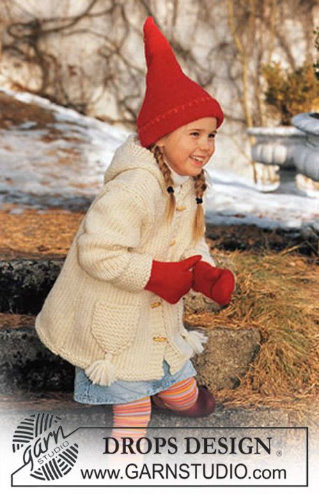 Jacket in Eskimo and felted Christmas hat and felted mittens in Alaska Free pattern by DROPS Design.