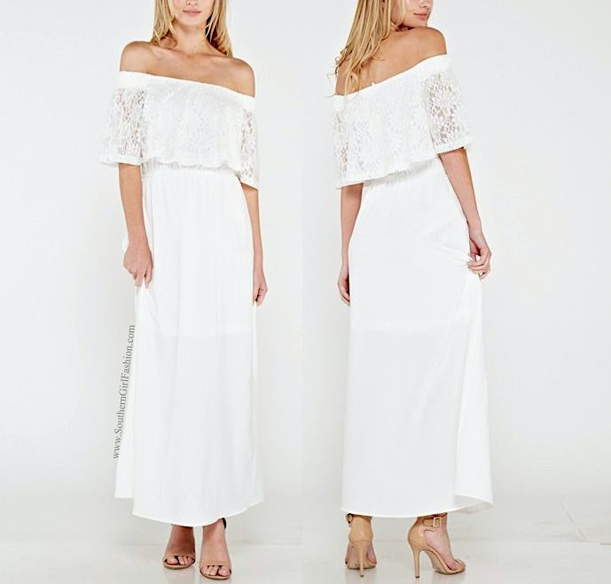 SOUTHERN GIRL FASHION  Lace Maxi Dress White Off Shoulder Long Draped Gown S M L #Boutique #LongDress