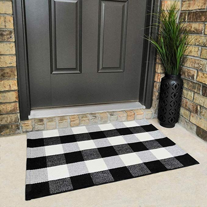 Cotton Buffalo Plaid Rugs Black And White Checkered Rug Welcome Door Mat 23 6 X35 4 Rug For Kitchen Carpet Bathroom Outdoo Plaid Rug Porch Mat Outdoor Porch