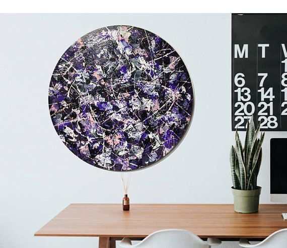 Round Abstract Art unique enamel painting on stretched canvas