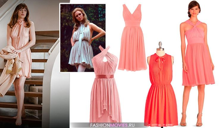 ANASTASIA'S PALE PINK/PEACH CHIFFON TIE-NECK DRESS: The custom dress was inspired by Faye Dunaway in The Thomas Crown Affair