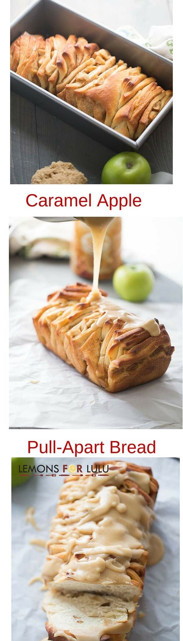 This pull apart apple cinnamon bread features sweet apples tucked inside tender slices of bread. The whole loaf is covered in a silky caramel glaze! lemonsforlulu.com #CreateDelight #IDelight