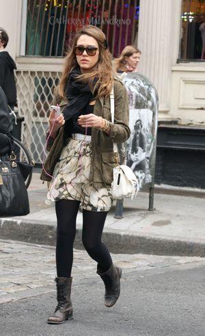 girly mini skirt+military jacket+combat boots