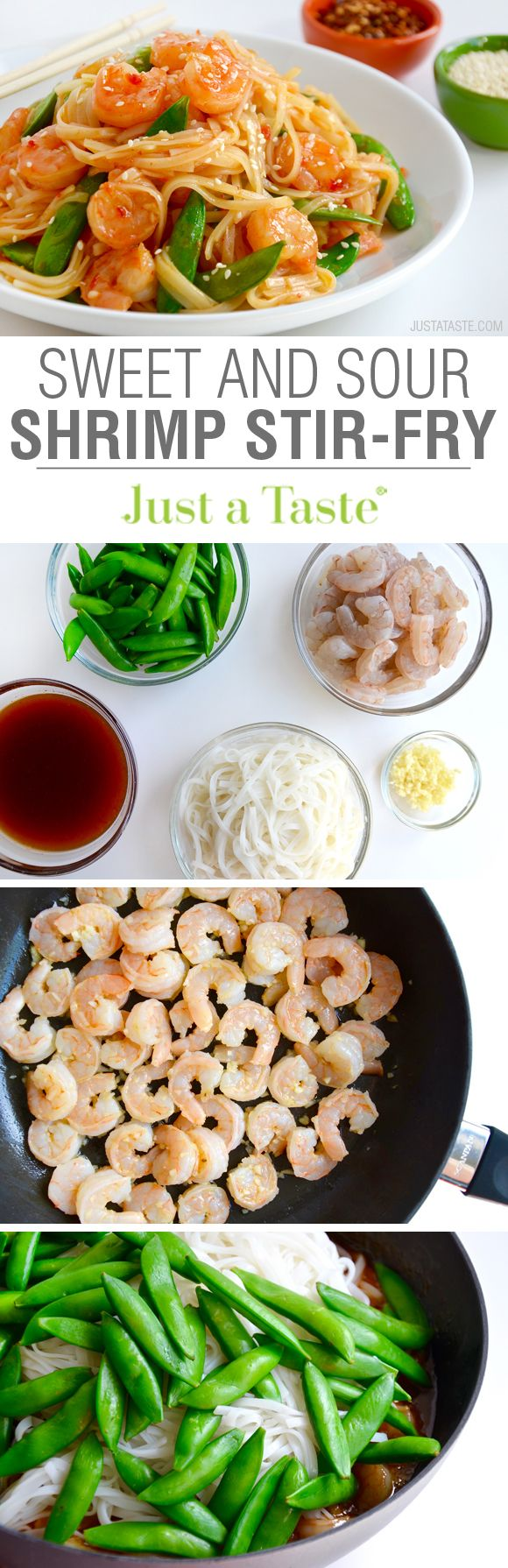 20-Minute Sweet and Sour Shrimp Stir-Fry recipe via justataste.com