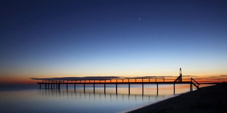 Interior Design and Home Decoration Artwork from Art Australia - buy this original signed print in 3 sizes.  Moon Lie Jetty by David Rennie available via http://www.art-australia.com/moon-lie-jetty-by-david-rennie/