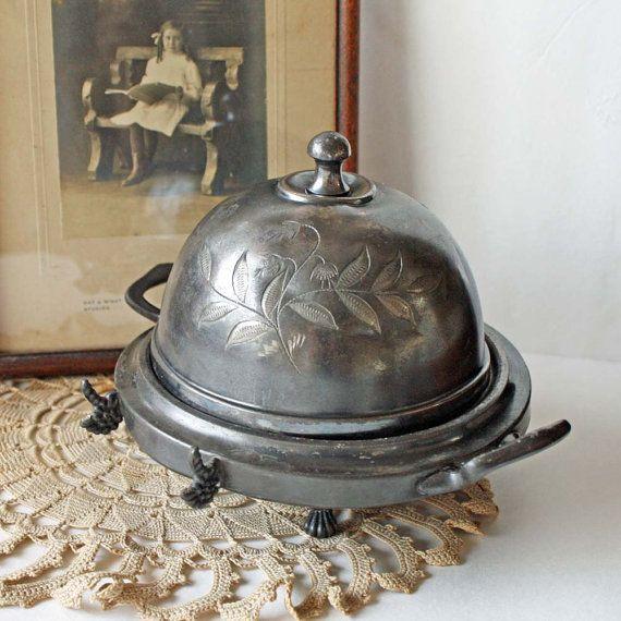 victorian butter dish | Victorian Butter Dish Dome Cover 1800s Quadruple Silver Plate