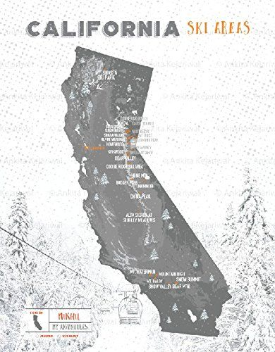 CA Ski Resorts Map, California State, 8X10 Inches, Print, Personalized, CA State Print, Granite Gray
