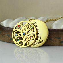Камень генеалогическое древо ожерелье золото персонализированные мама ожерелье выгравированы наша семья имя ожерелье шильдик ювелирные изделия(China (Mainland))