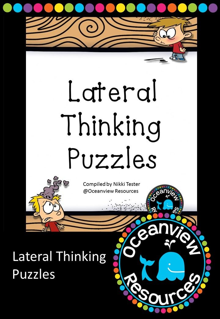 Lateral Thinking Puzzles are a great way to start a lesson or use as a brain break. These can also be used for fast finishers as problem solving tasks. Students really enjoy the Optical illusions included in this pack. 37 pages for $2! http://designedbyteachers.com.au/marketplace/lateral-thinking-puzzles/