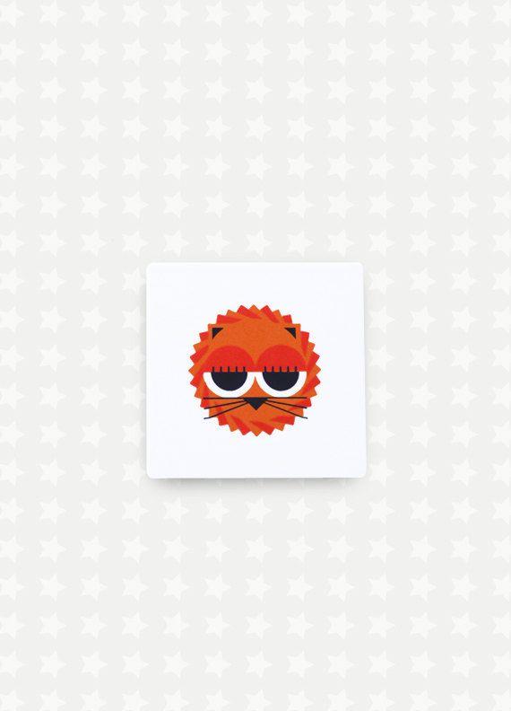 Lion Print Nursery Art  Orange Animal Kids Room Funky Wall