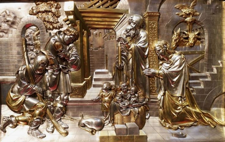 Adoration of the Child, section of the silver altarpiece with Life of the Virgin by Hans Dürer (overall design), Georg Herten (wooden frame), Peter Flötner (wooden reliefs), Pankraz Labenwolf (brass casts) and Melchior Baier (goldsmithery), 1531-1538, Kaplica Zygmuntowska, commissioned by Sigismund I the Old