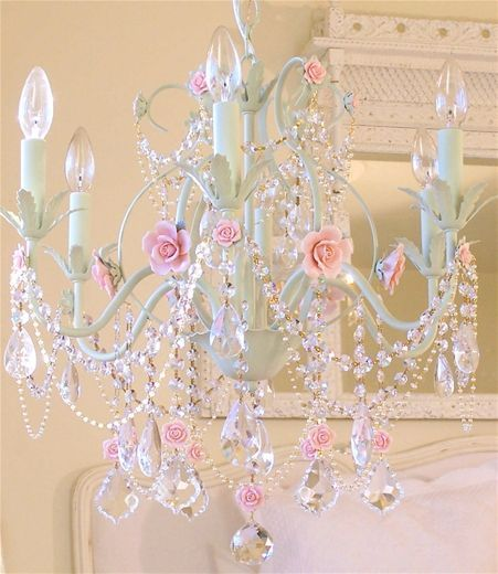 Feminine Pink Shabby Chic Chandelier. what a stunning chandelier this is! i'm actually in love with this :)