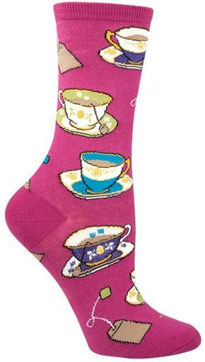 These crew socks show off a variety of ornate tea cups and saucers.  Aren't they adorable?