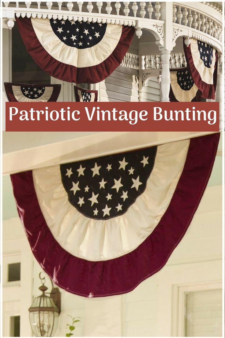 Americana Traditional Pleated Flag Vintage Bunting Traditional Bunting Bunting