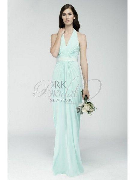 RK Bridal: Watters Bridesmaids Fall 2014- Style 6542 Rimini : Crinkle chiffon, shirred floor length skirt and halter neckline. Cotton grosgrain ribbon at waist.