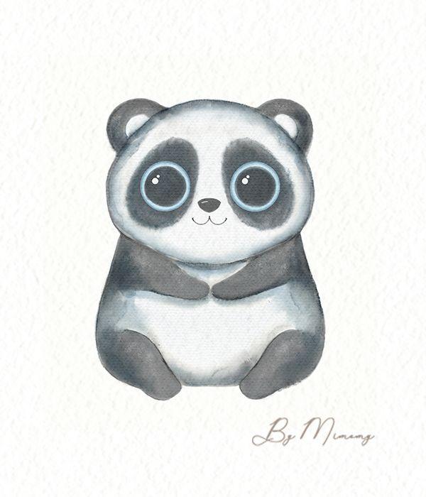 Watercolor Cartoon Kawaii Funny Panda Cute Baby Pigs Kawaii Panda Anime Drawings Sketches