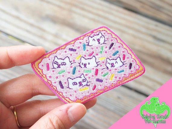 Pop Cats Pop Tart 3 iron-on embroidered patch pop tarts by ShopNDS