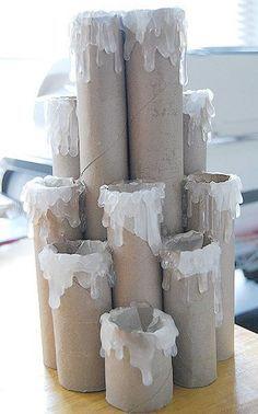 Adoro artesanatos reciclados! E ainda mais artesanatos para o Natal! - Hoje quero você veja esta ideiamaravilhosade como fazer velas decorativas de natal