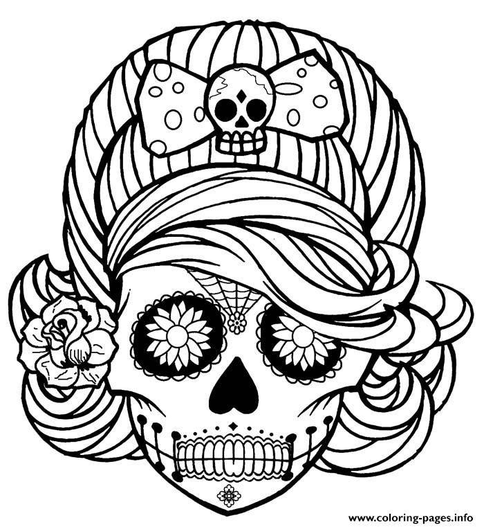Print Girl Skull cute adult coloring pages (Görüntüler ile ...