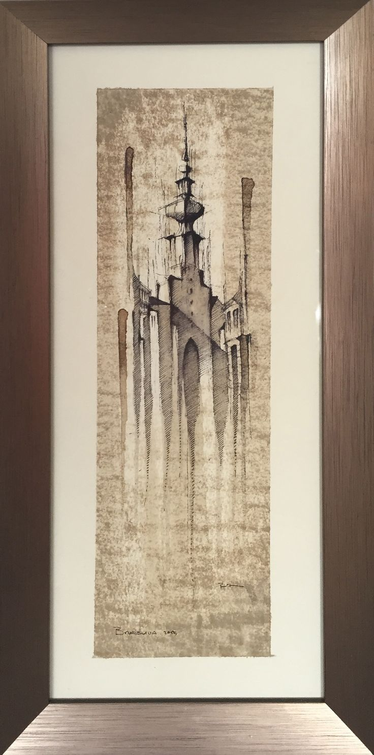 MICHAELS TOWER - Slovakia,  Drawing on paper, coffee coloured, 20x40cm   © Pavel Filgas 2016   https://www.facebook.com/Pavel-Filgas-Art-500412180019911/ https://www.instagram.com/pavel_filgas_art/ https://twitter.com/PavelFilgas https://www.pavelfilgas.com, PAVEL FILGAS