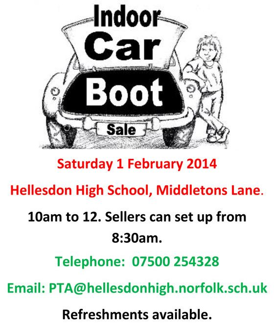Indoor Car Boot Sale Saturday 1 Feb 2014, Hellesdon High School. All Pitches SOLD OUT . . . so there is lots to buy!!