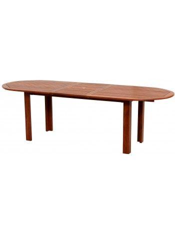 Tavolo ovale allungabile di varie misure in legno di keruing con allunga centrale. La misura può variare da cm 120 a 180, da 150 a 200, per permetterti di ospitare nel tuo giardino un numero sempre maggiore di commensali con cui condividere fantastici momenti all'aria aperta