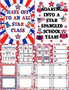 Patriotic Theme Back to School Mega Pack - This pack will help you with all your back to school needs with printable patriotic room decor, open house activities, parent communication, first week activities, and more! $