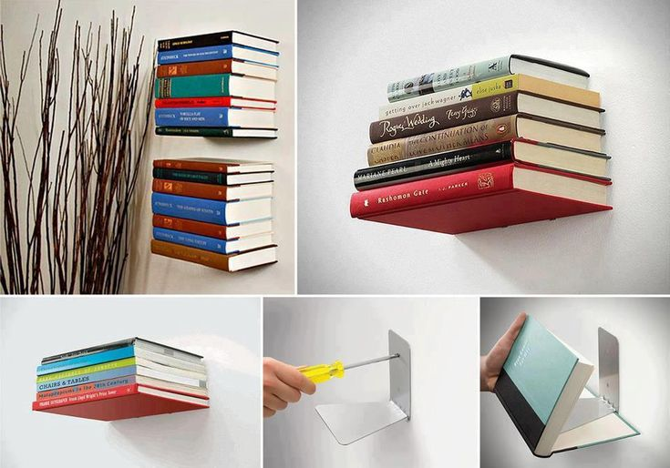 Invisible Bookshelf!  No space, but lots of books? This easy diy project can solve all of your problems, plus, it's unique and kind of artsy. Great for a college dorm room.