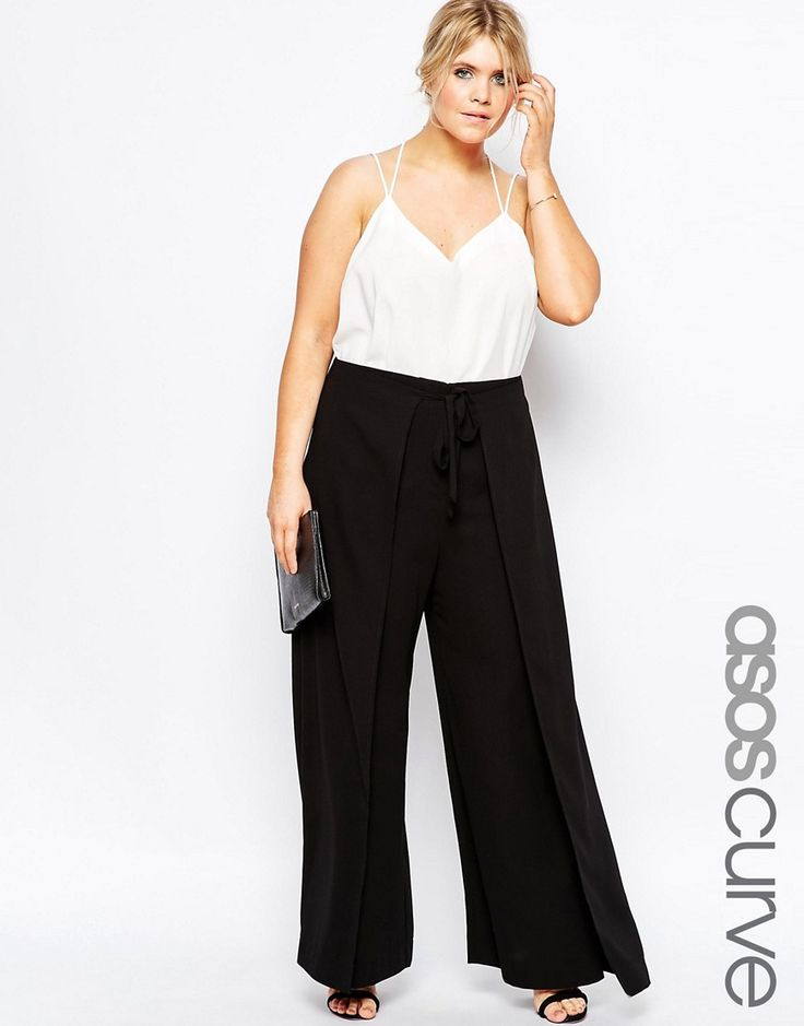 Image 1 of ASOS CURVE Trouser With Tie Wrap Front
