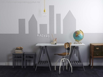Pain a city on the wall. Want this for my livingroom or maybe my sons room. Love the idea!