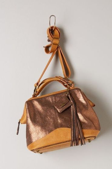 Shimmered Leather Satchel by Schuler