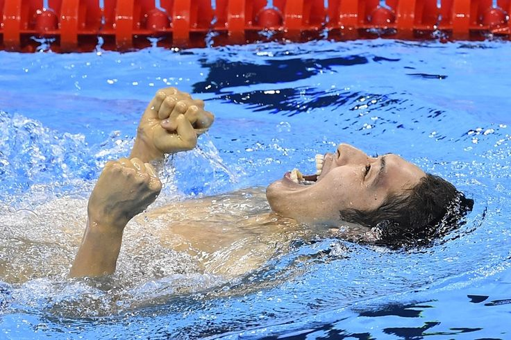 The moment of victory - Japanese swimmer Hagino Kosuke after winning men's 400 m individual medley - Olympic Games, Rio de Janeiro