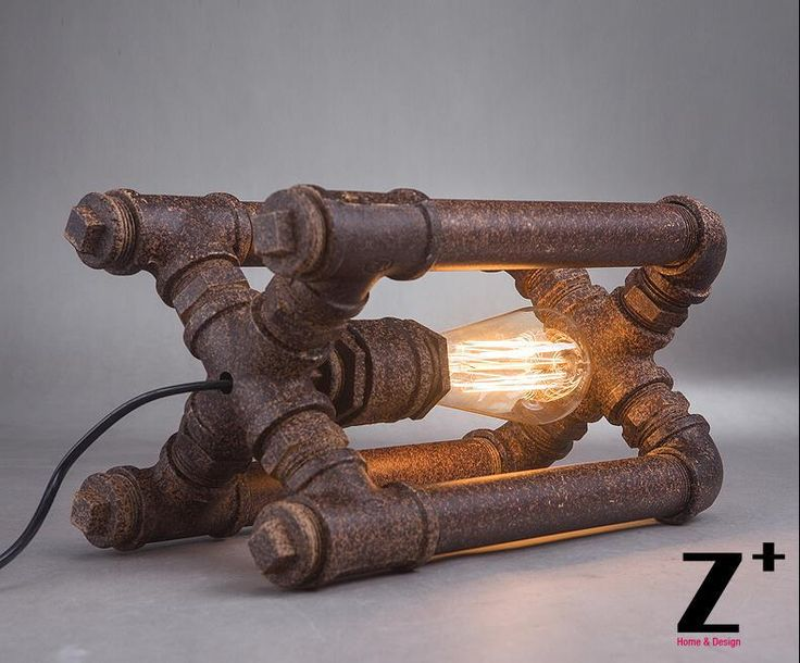 Industrial style American Hand made DIY Rustic Iron water pipe cube table lamp free shipping abajur