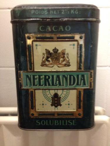 Antiek Winkelblik cacao. Neerlandia.