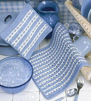 White Stripes Knit Dishcloth Pattern/ very nice set / FREE KNITTED pattern