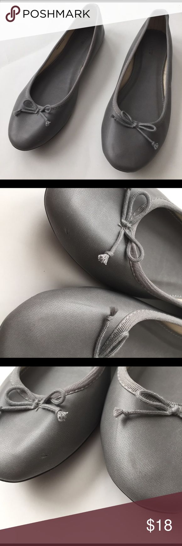 Jcrew Factory Classic Ballet Flat, Grey, 7 Great condition. Minor mark (see left and right close up). Barely noticeable when wearing. Jcrew factory Shoes Flats & Loafers