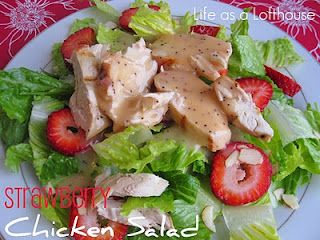 Strawberry Chicken Salad with Raspberry Poppyseed Dressing. The dressing is AMAZING. This was a great, refreshing salad. I added lemon pepper and garlic salt to the chicken for a bit more flavor. Delicious!