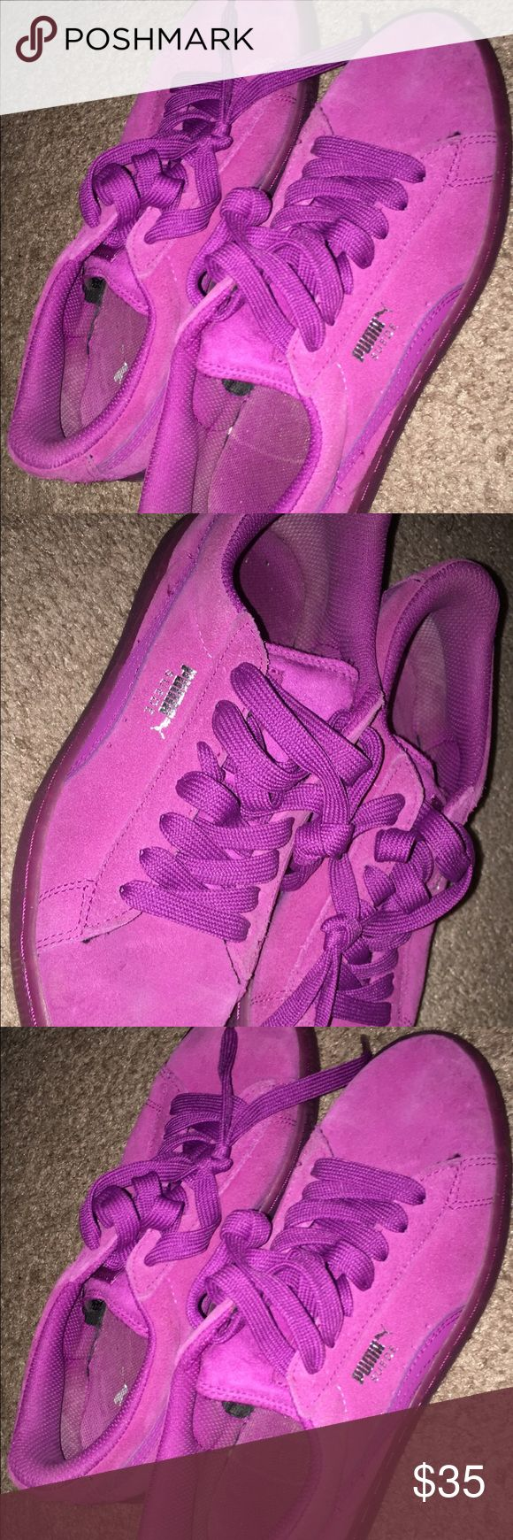 Purple/Pink Puma Suede sz 5.5y Cute worn a few times. In good condition. Purple/pink color. These are a size 5.5y so a 7/7.5 in women's. Puma Shoes Sneakers