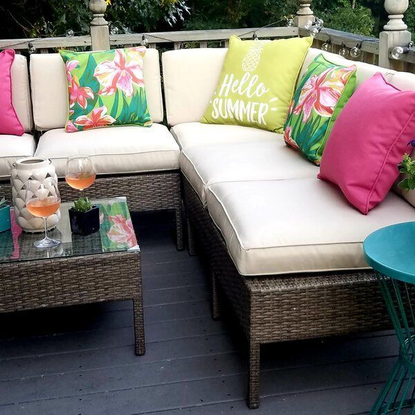 Bromborough 5 Piece Rattan Sectional Seating Group With Cushions Outdoor Sectional Seating Patio Furniture Layout Patio Furniture Makeover