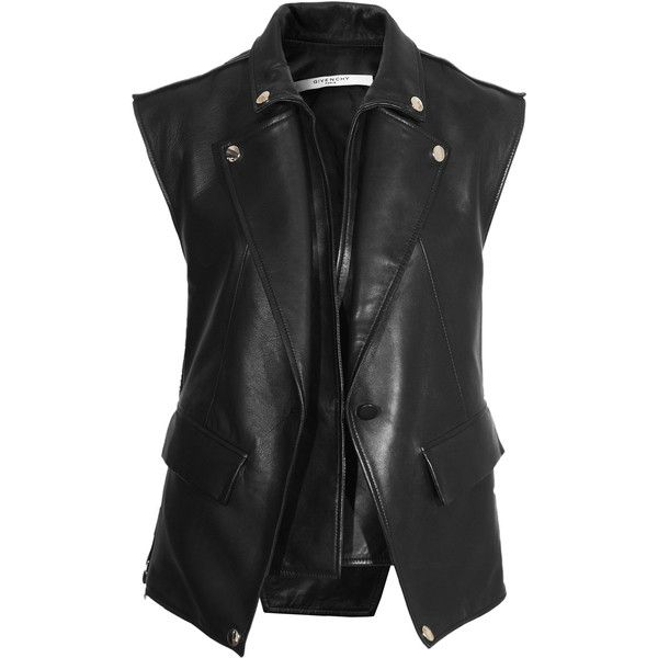GIVENCHY Paris Black Leather biker vest ($670) ❤ liked on Polyvore featuring outerwear, vests, jackets, tops, coats, black zip vest, black zipper vest, leather waistcoat, biker vest and genuine leather vest