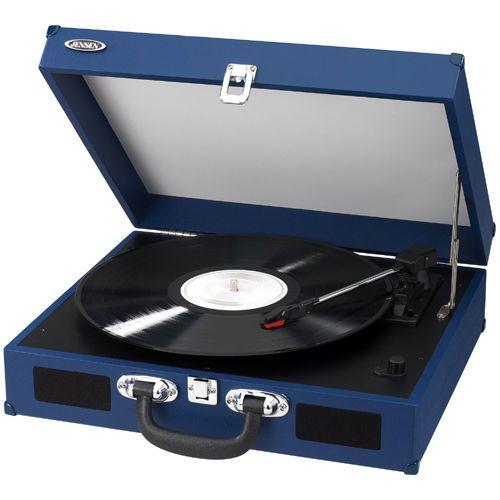 Jensen JJEN-JTA-410-BLUE Portable 3-Speed Turntable w/ Speaker, USB Port & Cable #Jensen