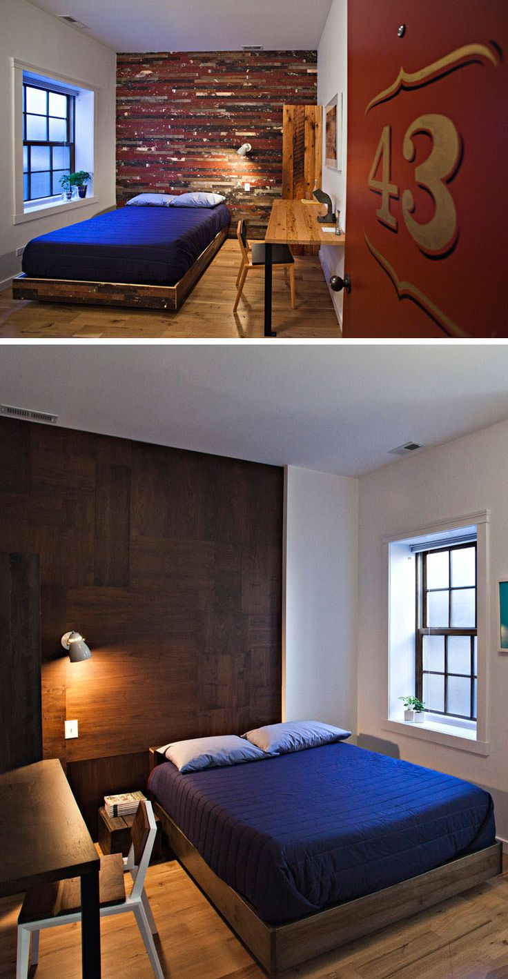 Lots of wood elements in these hotel rooms and the use of warm colors make the rooms feel cozy and inviting. They also have large windows and high ceilings to let in natural light.