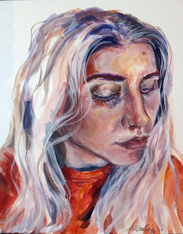"""Portrait 11 Acrylic on 7x10"""" card.  instagram.com/missdarq www.missdarq.com"""