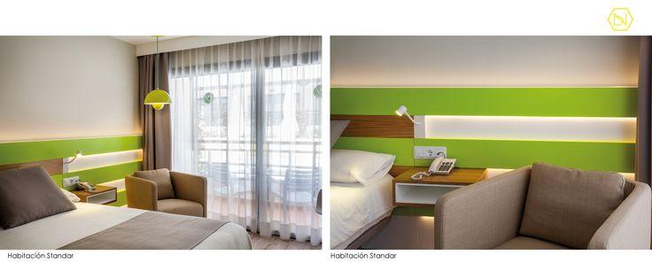 www.bn-arquitectos.com Habitación standard Verde. Reforma Hotel Vanilla Garden. Tenerife.  Lime green stadard Room. Refurbishment Vanilla Garden Hotel. Tenerife #limegreen #hotel #refurbishment #reforma #Diseñointeriores #interiores