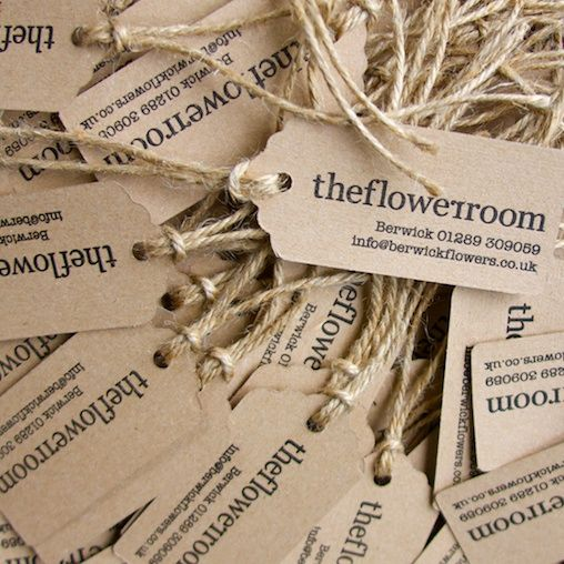 Letterpress-printed rustic hairy manilla luggage labels for The Flower Room, boutique florists in Kelso and Berwick upon Tweed.