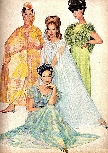 this is how my grandmother dressed for bed. Including matching kitten heel slippers.    US Vogue February 15, 1966