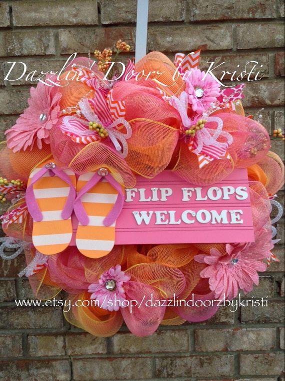 Sparkly Pink and Orange Flip Flops Wreath by DazzlinDoorzbyKristi, $100.00